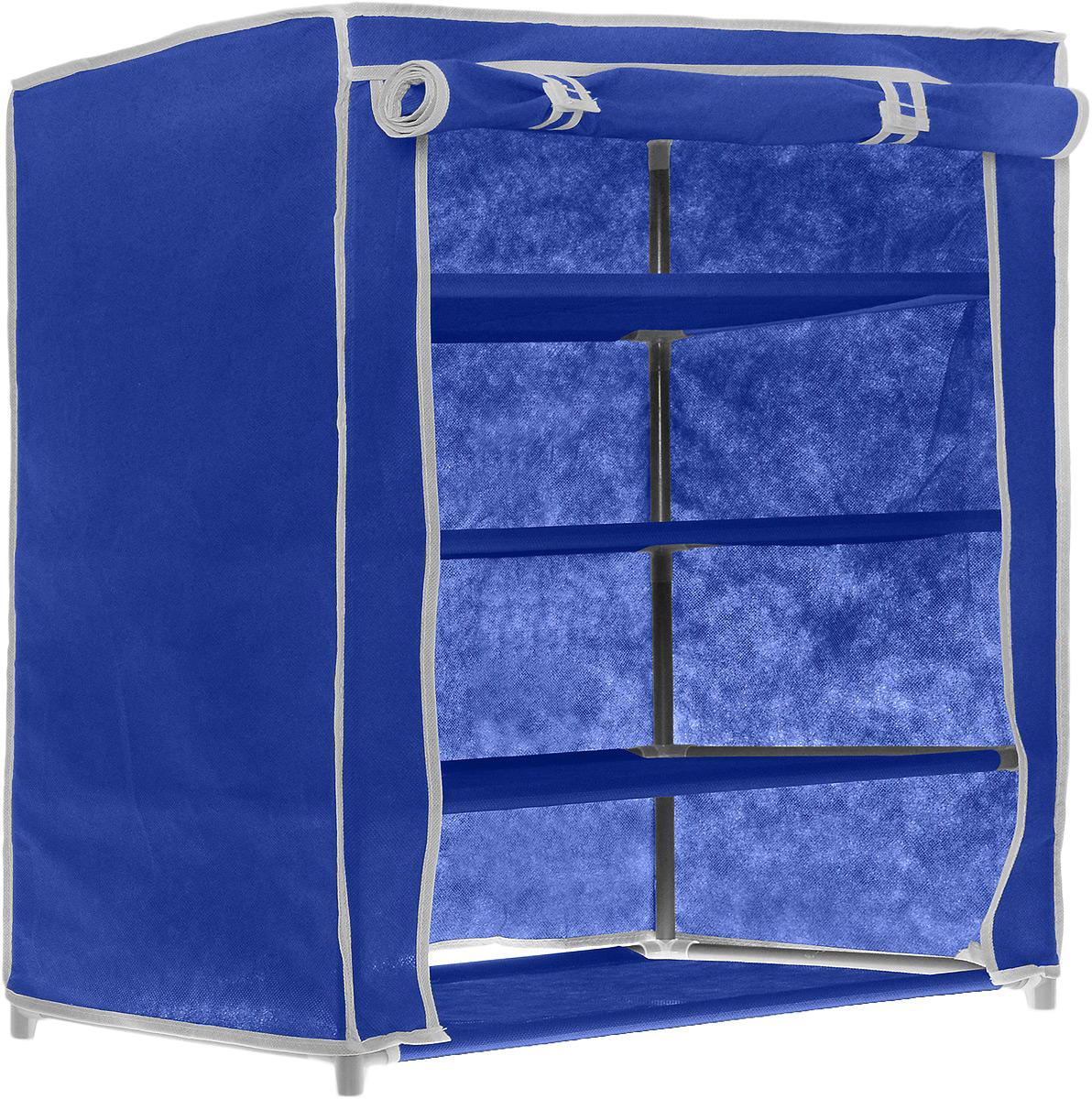 """Купить этажерка для обуви """"miolla"""", 4 полки, цвет: синий, ко."""