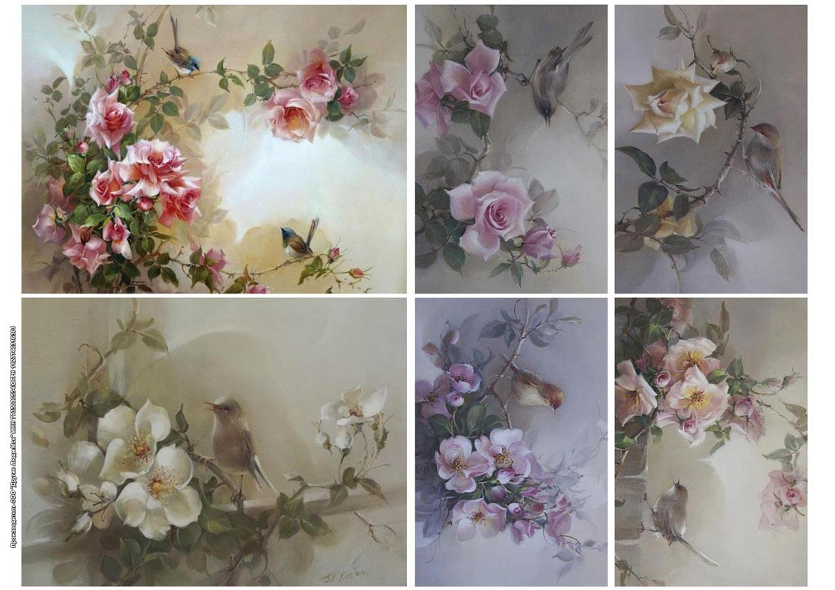Цветы из бумаги для декупажа